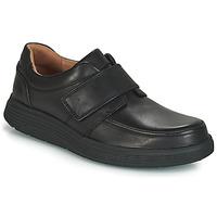 Zapatos Hombre Derbie Clarks UN ABODE STRAP Negro