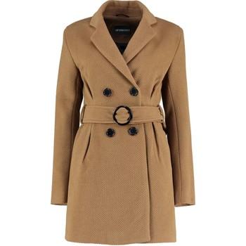 textil Mujer trench De La Creme Chaqueta con cinturón de invierno - Camel Tweed para mujer BEIGE