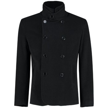textil Abrigos De La Creme - Chaqueta de cachemira corta de lana negra para hombre Black