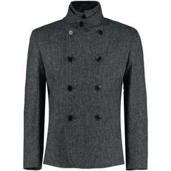 textil Abrigos De La Creme - Chaqueta de cachemir de lana de invierno con tweed negro para Black