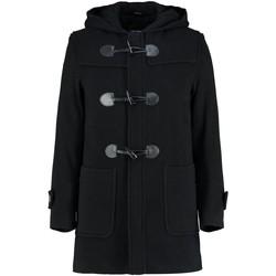 textil Abrigos De La Creme - Abrigo de cachemira de lana con capucha y capucha negra para Black