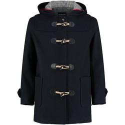 textil Abrigos De La Creme - Chaqueta de lana con capucha y capucha en negro para hombre Black
