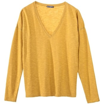 textil Mujer Camisetas manga larga Petit Bateau T-shirt ML Femme Col V en Jersey Flammé Jaune inca Amarillo