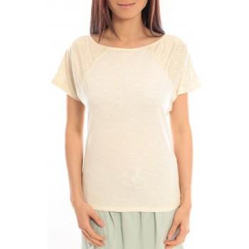textil Mujer Camisetas manga corta Blune T-Shirt Pointilleuse PO-TF02E13 Écru Beige