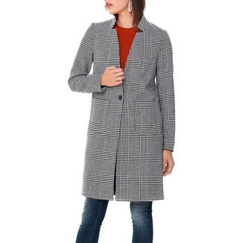 textil Abrigos Only onlHELEN CHECK WOOL COAT Gris