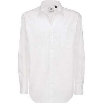 textil Hombre Camisas manga larga B And C SMT81 Blanco