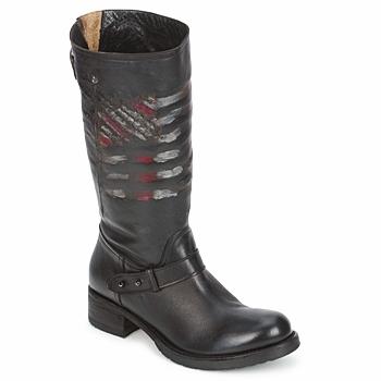 Zapatos Mujer Botas de caña baja Strategia ENRO Negro / Estampado / Bandera