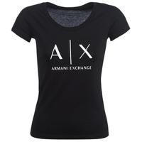 textil Mujer camisetas manga corta Armani Exchange HELBATANTE Negro