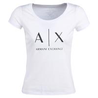 textil Mujer camisetas manga corta Armani Exchange HELIAK Blanco