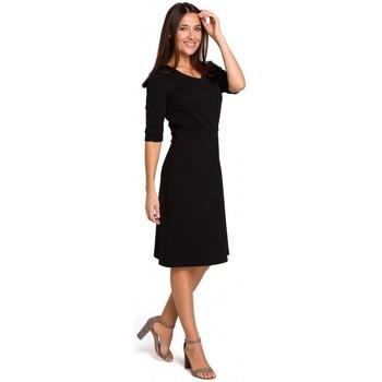 textil Mujer Tops / Blusas Style S153 Vestido ajustado y acampanado con cuello en V - negro