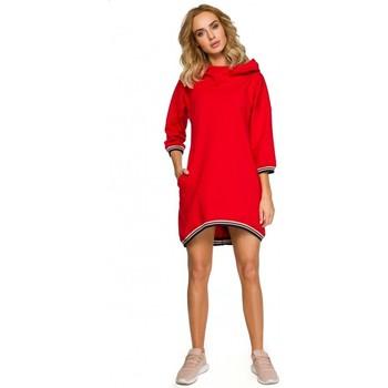 textil Mujer Vestidos cortos Moe M401 Túnica con capucha - roja