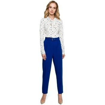 textil Mujer Vestidos Style S124 Pantalones de cintura alta con cinturón - azul real