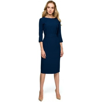 textil Mujer Vestidos cortos Style S119 Vestido liso con botones - azul marino
