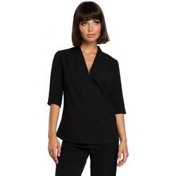 textil Mujer Tops / Blusas Be B090 Top liso con cuello de pico y lino - negro