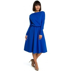 textil Mujer Vestidos cortos Be B087 Vestido midi ajustado y acampanado - azul real