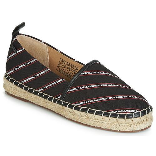 Zapatos Mujer Alpargatas Karl Lagerfeld KAMINI STRIPE LOGO SLIP Negro