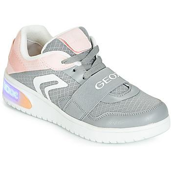 Zapatos Niña Zapatillas altas Geox J XLED GIRL Gris / Rosa / Led