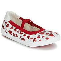 Zapatos Niña Bailarinas-manoletinas Geox J KILWI GIRL Blanco / Rojo