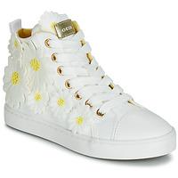 Zapatos Niña Zapatillas altas Geox JR CIAK GIRL Blanco / Flores / Amarillos