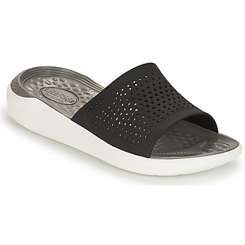 Zapatos Chanclas Crocs LITERIDE SLIDE Negro / Blanco
