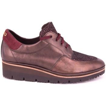 Zapatos Mujer Mocasín Plaju PIEL METALIZADA BURDEOS GRANATE