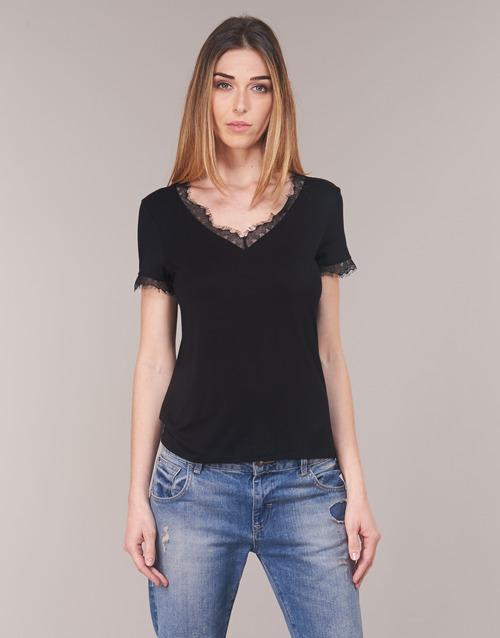 Mujer Corta Camisetas Textil Dminol Negro Manga Morgan 35ALqc4Rj
