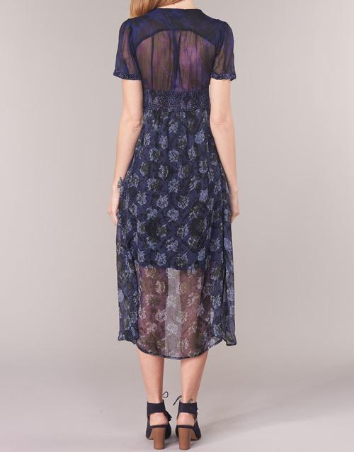 Vestidos Textil Minali Largos Desigual Marino Mujer 8nk0XPwO