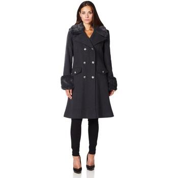 textil Mujer Abrigos De La Creme Cuello de piel de abrigo de invierno de lana de cachemira Grey