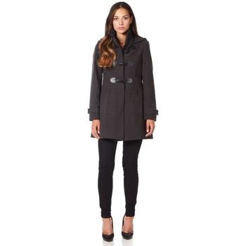 textil Mujer Abrigos De La Creme - Abrigo de invierno con cierre de cremallera y capucha de lana Grey