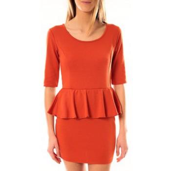 textil Mujer Vestidos cortos Tcqb Robe Moda Fashion Orange Naranja