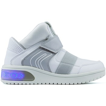 Zapatos Niño Zapatillas altas Geox ES LUCES  JR XLED BOY WHITE