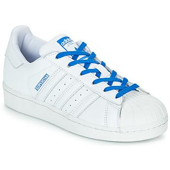Zapatos Niña Zapatillas bajas adidas Originals SUPERSTAR J Blanco / Azul