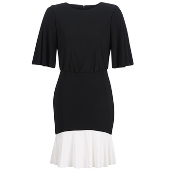 textil Mujer vestidos cortos Lauren Ralph Lauren ELBOW SLEEVE DAY DRESS Negro / Blanco