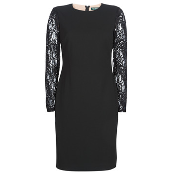 textil Mujer Vestidos cortos Lauren Ralph Lauren LACE PANEL JERSEY DRESS Negro