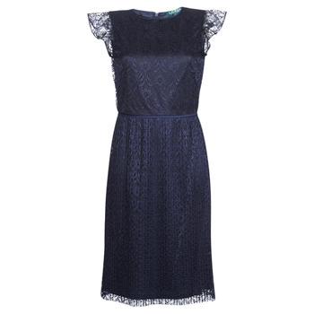 textil Mujer vestidos cortos Lauren Ralph Lauren LACE CAP SLEEVE DRESS Marino