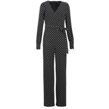 textil Mujer Monos / Petos Lauren Ralph Lauren POLKA DOT WIDE LEG JUMPSUIT Negro / Blanco