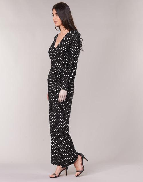 Mujer MonosPetos Negro Lauren Polka Textil Wide Ralph Dot Leg Jumpsuit Blanco kiuTwOZPXl