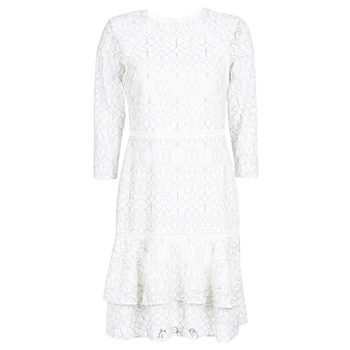 textil Mujer vestidos cortos Lauren Ralph Lauren LONG SLEEVE-LACE DAY DRESS Blanco / Negro