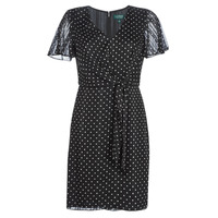textil Mujer vestidos cortos Lauren Ralph Lauren POLKA DOT-SHORT SLEEVE-DAY DRESS Negro