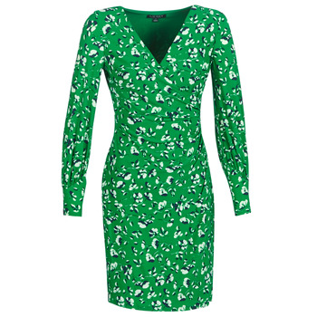 textil Mujer vestidos cortos Lauren Ralph Lauren FLORAL PRINT-LONG SLEEVE-JERSEY DAY DRESS Verde