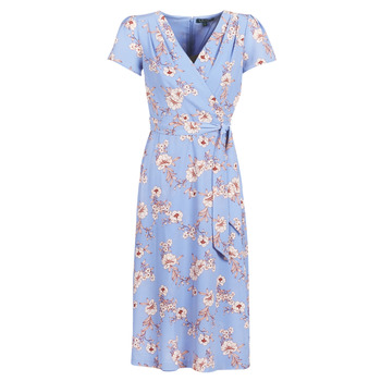 textil Mujer vestidos largos Lauren Ralph Lauren FLORAL PRINT- SHORT SLEEVE-DAY DRESS Azul