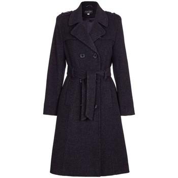 textil Mujer trench De La Creme Gabardina de lana y cachemir con cinturón de invierno Black