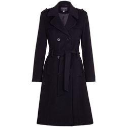textil Mujer trench De La Creme Gabardina de lana y cachemir con cinturón de invierno Negro
