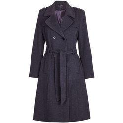 textil Mujer trench De La Creme Gabardina de lana y cachemir con cinturón de invierno Grey
