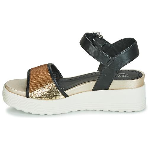 Negro Zapatos Sandalias Stonefly Parky pailettes Mujer 3 Nappa W2E9HID