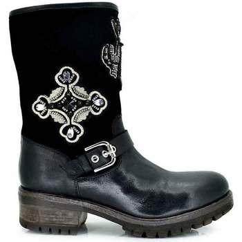 Zapatos Mujer Botines Exé Shoes BOTA MOTERA BORDADO TRINITY-860 Negro