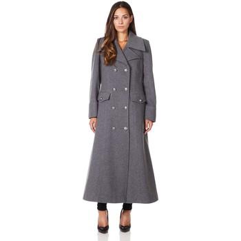 textil Mujer Abrigos De La Creme Cuello  de abrigo de invierno de lana de cachemira militar Grey