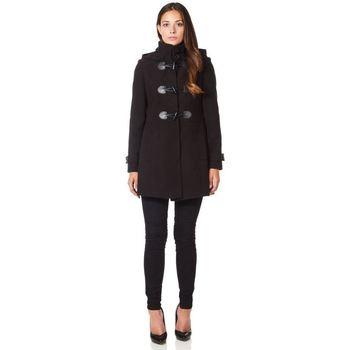 textil Mujer Abrigos De La Creme Abrigo de invierno con cierre de cachemira de lana Black