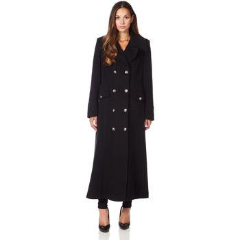 textil Mujer Abrigos De La Creme Cuello  de abrigo de invierno de lana de cachemira militar Black