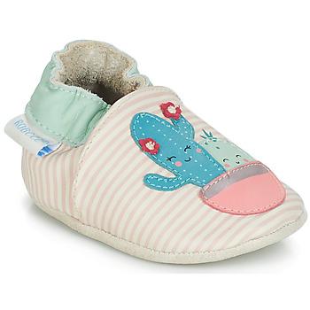 Zapatos Niña Pantuflas para bebé Robeez CACTUS Crudo / Rosa